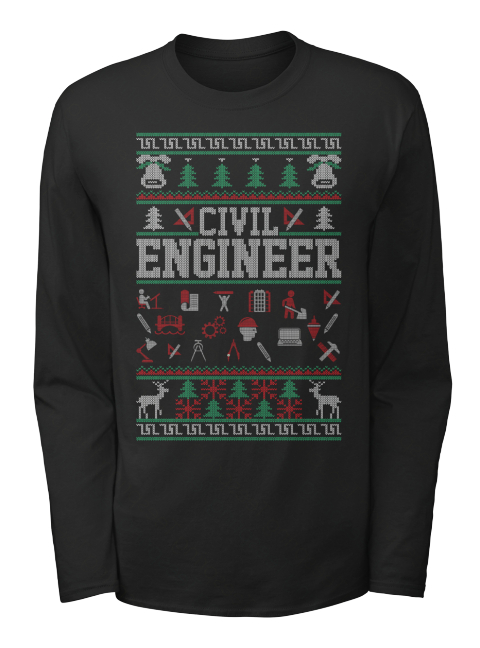 Civil Engineer Black Long Sleeve T-Shirt Front