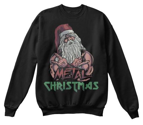 metal christmas black sweatshirt front - Black Metal Christmas Sweater