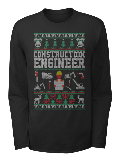 Construction Engineer Black Long Sleeve T-Shirt Front