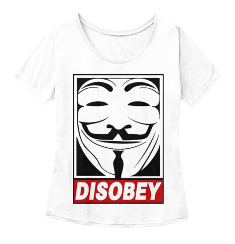 Disobey White  Women's T-Shirt Front