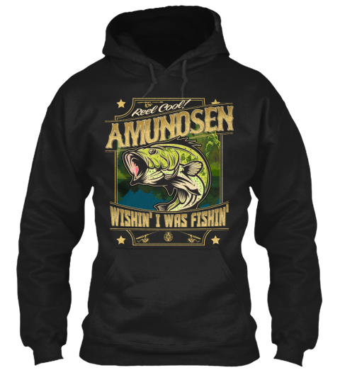 Amundsen Fishing Gift Black T-Shirt Front