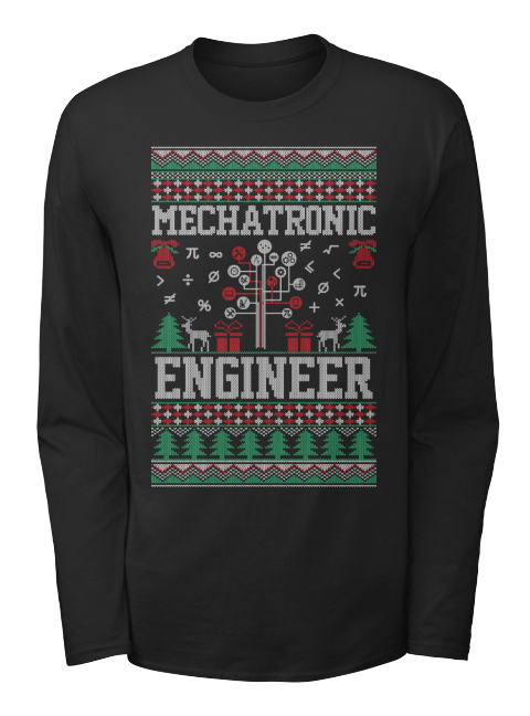 from cheap ugly christmas mechatronic engineer black long sleeve t shirt front