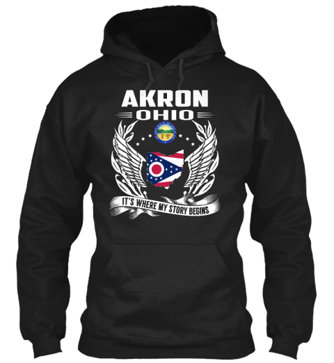 Akron Ohio It's Where My Story Begins Black T-Shirt Front