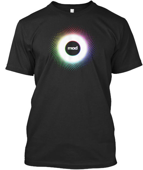 Mad Madswirl.Com Black T-Shirt Front