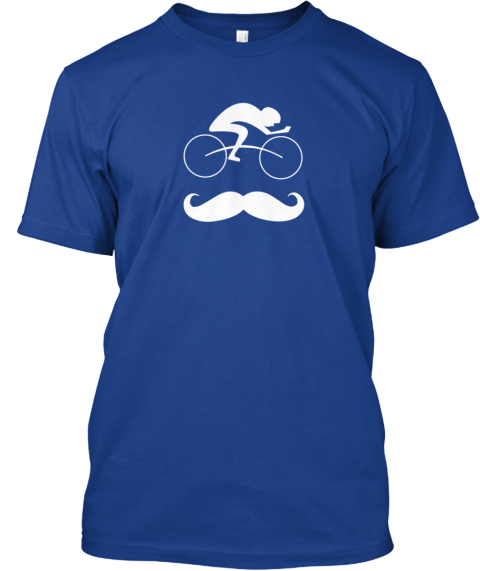 Hip Bicycle Moustache Tee Shirt! True Royal T-Shirt Front